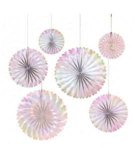 שישיית מניפות נייר צבע פנינה- Meri Meri