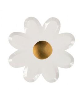 צלחות נייר פרחים לבן זהב - Meri Meri