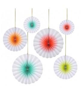 שישיית מניפות נייר לבן צבעי ניאון- Meri Meri