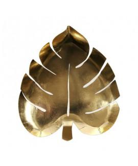 צלחות עלה זהב מטאלי - Meri Meri
