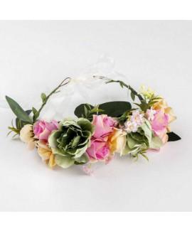 זר פרחים לראש- ורוד אפור