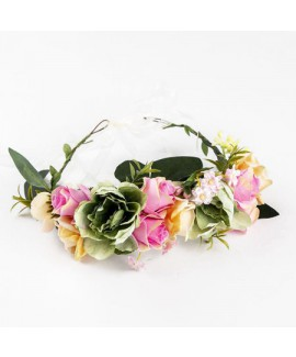 זר פרחים לראש- ורוד תכלת