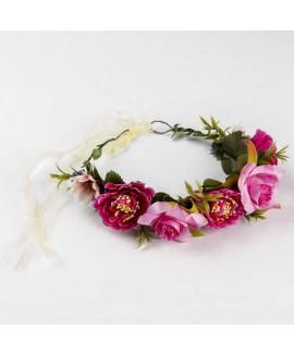 זר פרחים לראש- ורוד עז