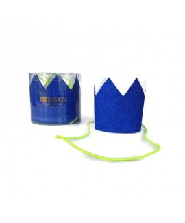 מארז 6 מיני כתרים גליטר כחול