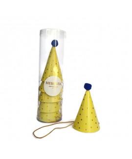 מארז 6 כובעי מסיבה מיני- צהוב נקודות  זהב