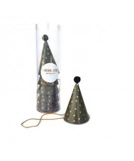 מארז 6 מיני כובעי מסיבה- שחור נקודות זהב
