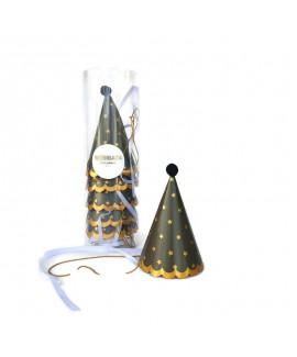 מארז 6 כובעי מסיבה- שחור כוכבים זהב