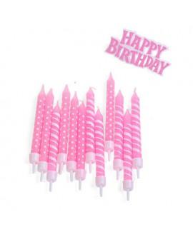 Happy Birthday נרות בצבע ורוד לבן עם שלט