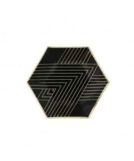 צלחות שחור זהב קטנות