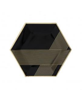 צלחות שחור זהב גדולות