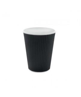 40 כוסות מתכלות שחורות פסים לשתייה חמה
