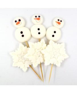 קישוט בצק סוכר - אנשי שלג