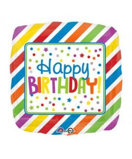 בלון הליום מרובע צבעוני Happy Birthday