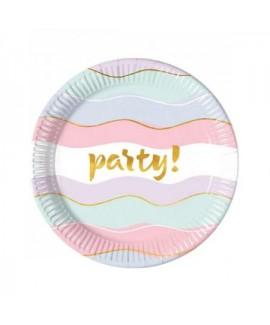 8 צלחות נייר צבעי פסטל עם הטבעה PARTY