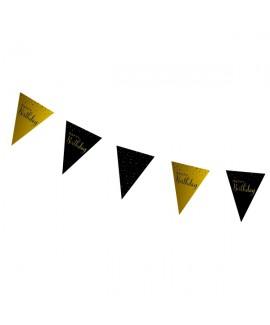 שרשרת דגלונים שחור זהב Happy Birthday