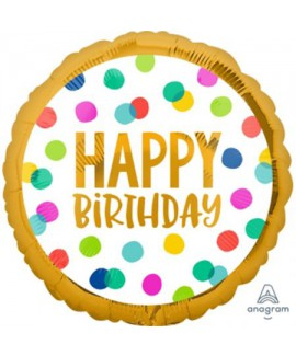 בלון הליום לבן נקודות Happy Birthday