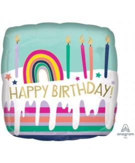 בלון מרובע צבעי פסטל Happy Birthday