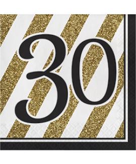 מפיות גיל 30 שחור זהב