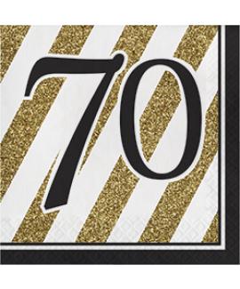 מפיות גיל 70 שחור זהב