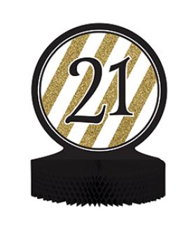 מרכז שולחן גיל 21 שחור זהב לבן