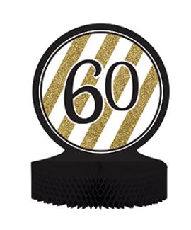 מרכז שולחן גיל 60 שחור זהב לבן