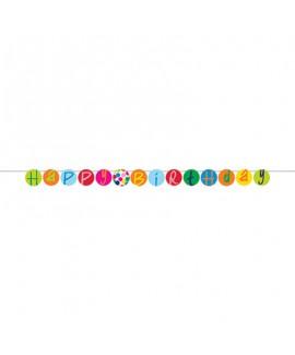 כרזה HAPPY BIRTHDAY נקודות צבעוניות