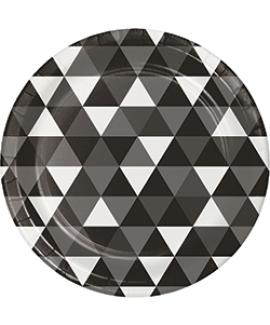 צלחות גדולות משולשים שחור לבן