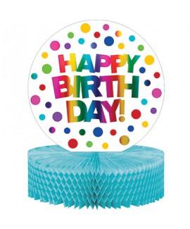מרכז שולחן happy birthday צבעוני מטאלי