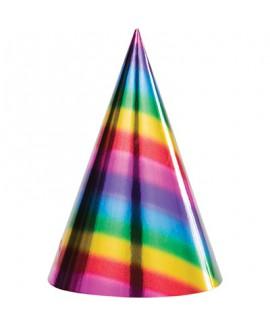 חבילת 8 כובעי יום הולדת צבעוניים מטאליים