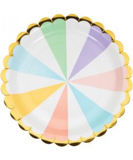 צלחות גדולות פסים צבעי פסטל