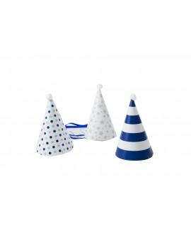כובע מסיבה תכלת לבן קישוטים שונים