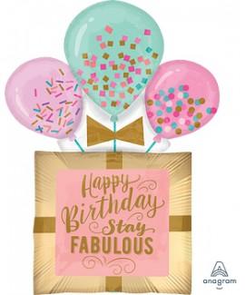 בלון ענק Happy Birthday צבעי פסטל