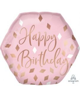 בלון הליום Happy Birthday משושה ורוד