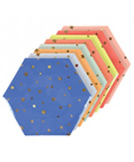 צלחות כוכבים גדולות צבעוניות - Meri Meri