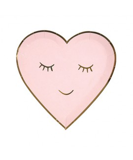 צלחות נייר לב ורוד מסגרת זהב- Meri Meri
