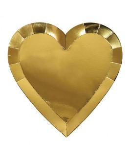 צלחות נייר לב זהב גדול- meri meri