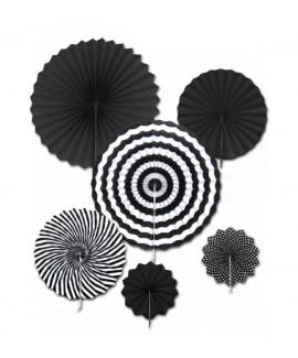 שישיית מניפות נייר- מיקס שחור לבן
