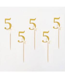 מספר 5 על קיסם- זהב