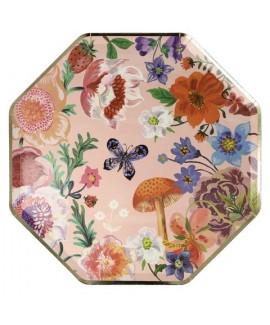 צלחות נייר פרחוניות גדולות - Meri Meri