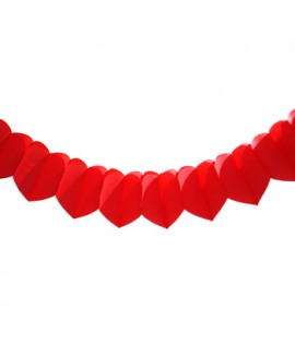 שרשרת נייר לבבות אדומה
