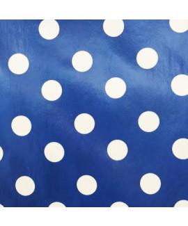 בד שעוונית כחול עם נקודות לבנות גדולות