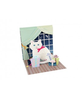 כרטיס ברכה פופ אפ- חתול