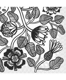 מפיות פרחים שחור ולבן