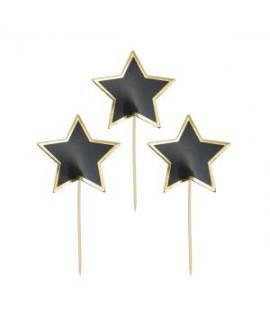כוכב שחור על קיסם מסגרת זהב