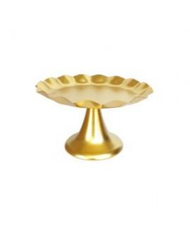 סטנד לעוגה מתכת שוליים גליים- זהב בינוני