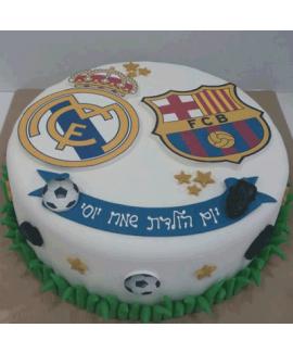 עוגה בצק סוכר ליום הולדת כדורגל