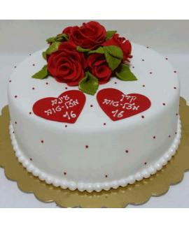 עוגה בצק סוכר ליום הולדת