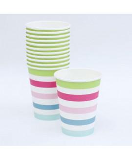 כוסות קרטון גדולות עם פסים צבעוניים