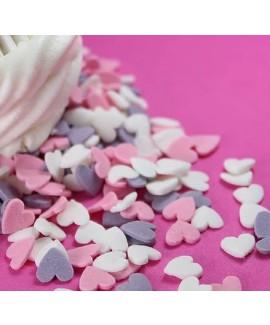 סוכריות לעוגה לבבות קטנים ורוד, לבן, סגול