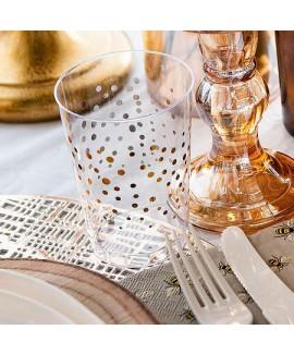 כוסות פלסטיק שקופות קשיחות מעוטרות זהב
